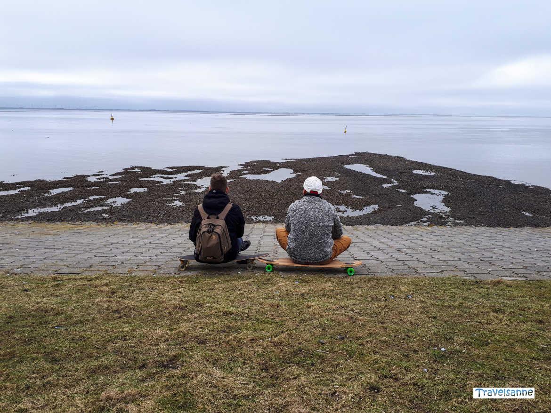 Blick auf das Wattenmeer bei der Longboard-Tour mit Familie auf Norderney