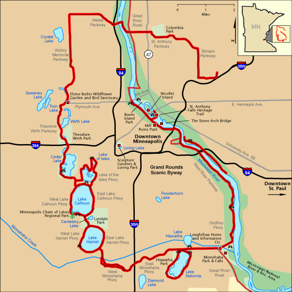 Minneapolis Grand Rounds Karte