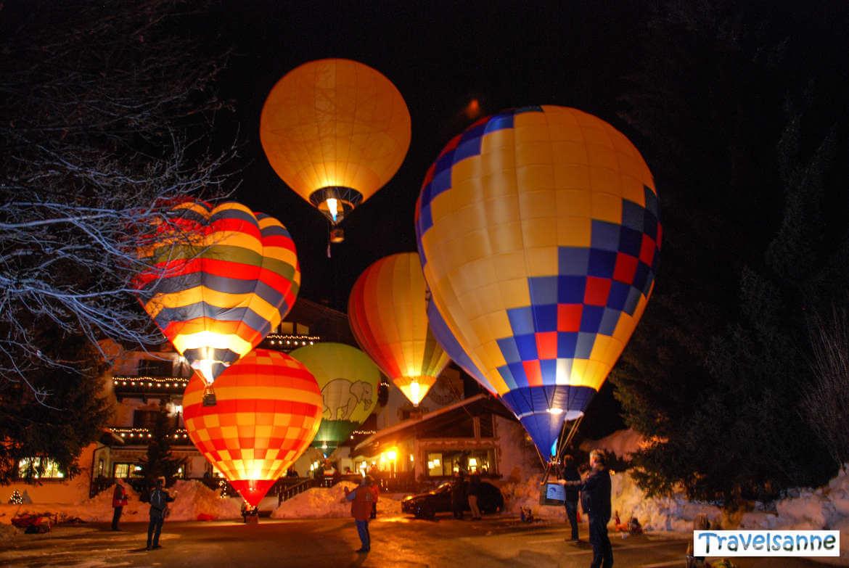 Ballonglühen zur Eröffnung des Dolomiti Balloonfestivals