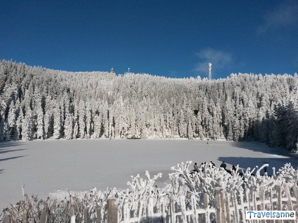 Winterzauber am Mummelsee an der Schwarzwaldhochstraße mit Blick zum Turm der Hornisgrinde