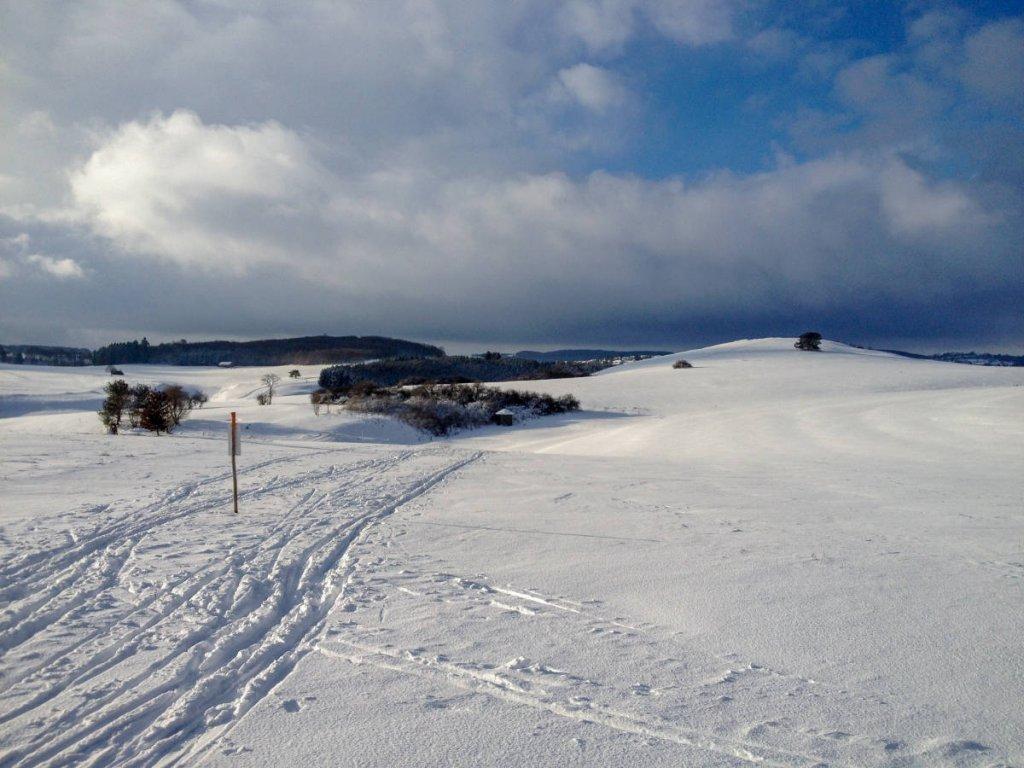 Schönstes Albpanorama auf der Golfplatz-Loipe in Sonnenbühl