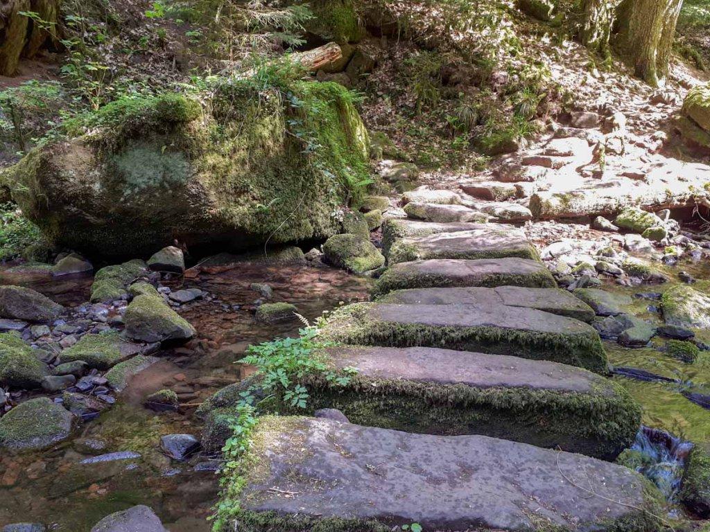 Bachüberquerung auf Felsplatten bei der Monbachtal Wanderung