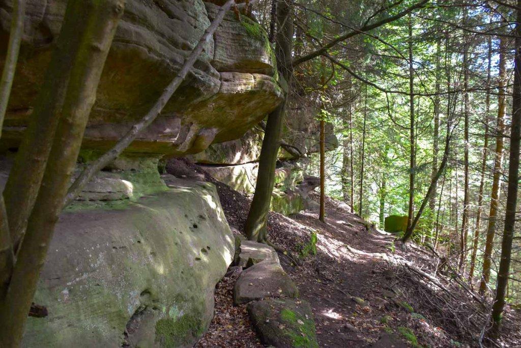 Imposante Buntsandsteinfelden säumen den Premiumwanderweg