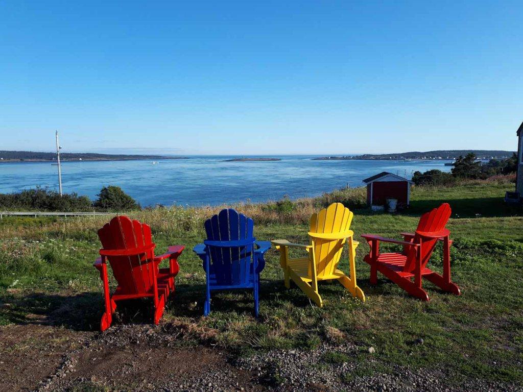 Blick auf die Bucht von Brier Island in Nova Scotia
