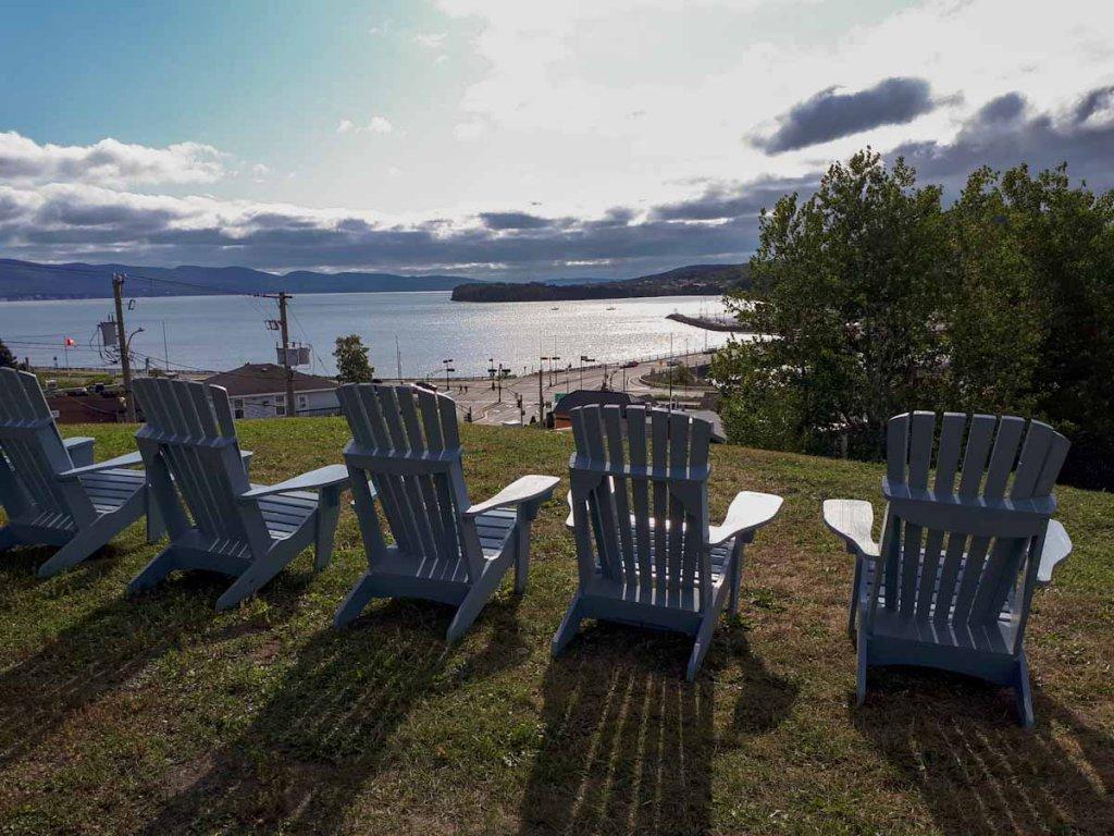 Blick auf den Forillon Nationalpark vom Hotel Plante in Gaspé, Québec