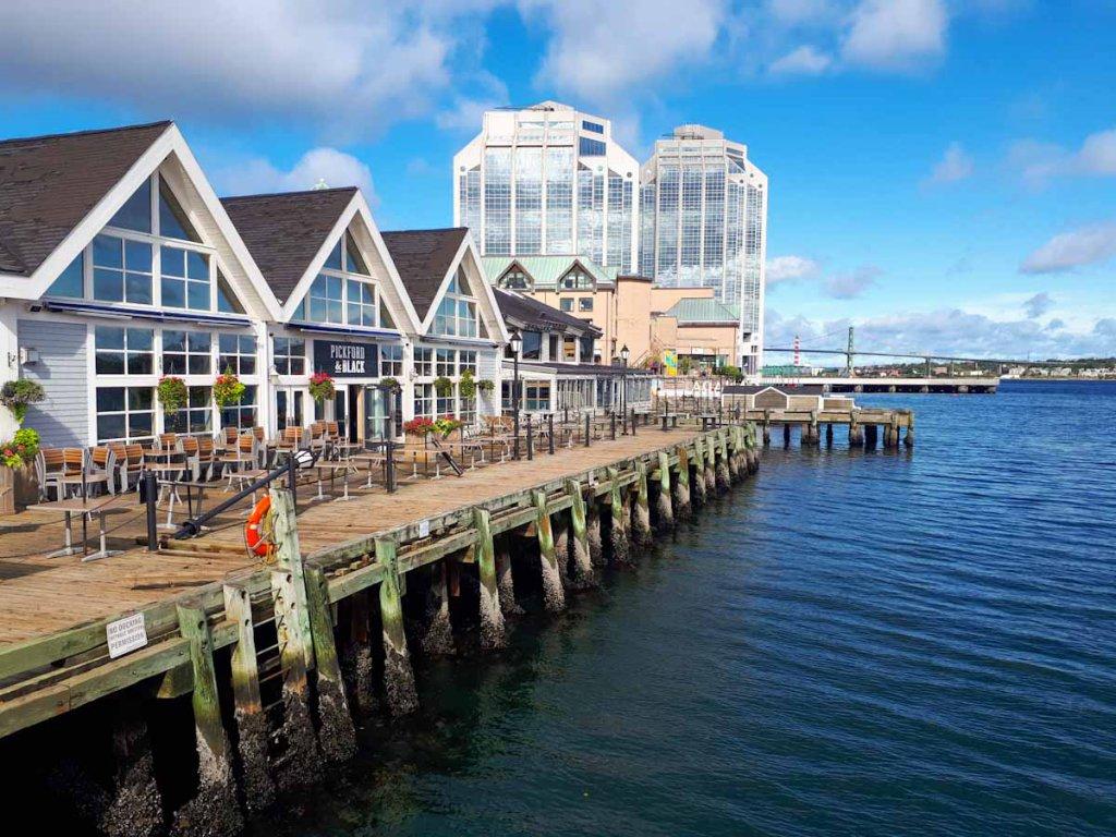 Die Halifax Harbourfront am Morgen nach Hurrikan Dorian