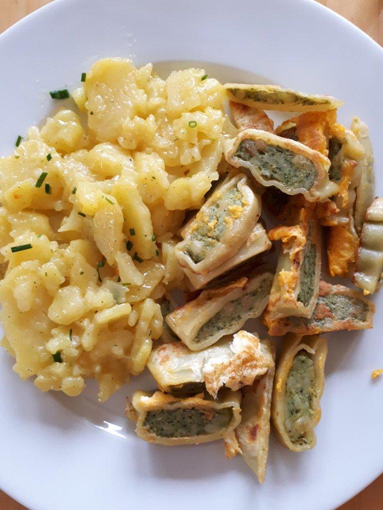 Schwäbisches Lieblingsgericht: Geröstete Maultaschen mit Kartoffelsalat