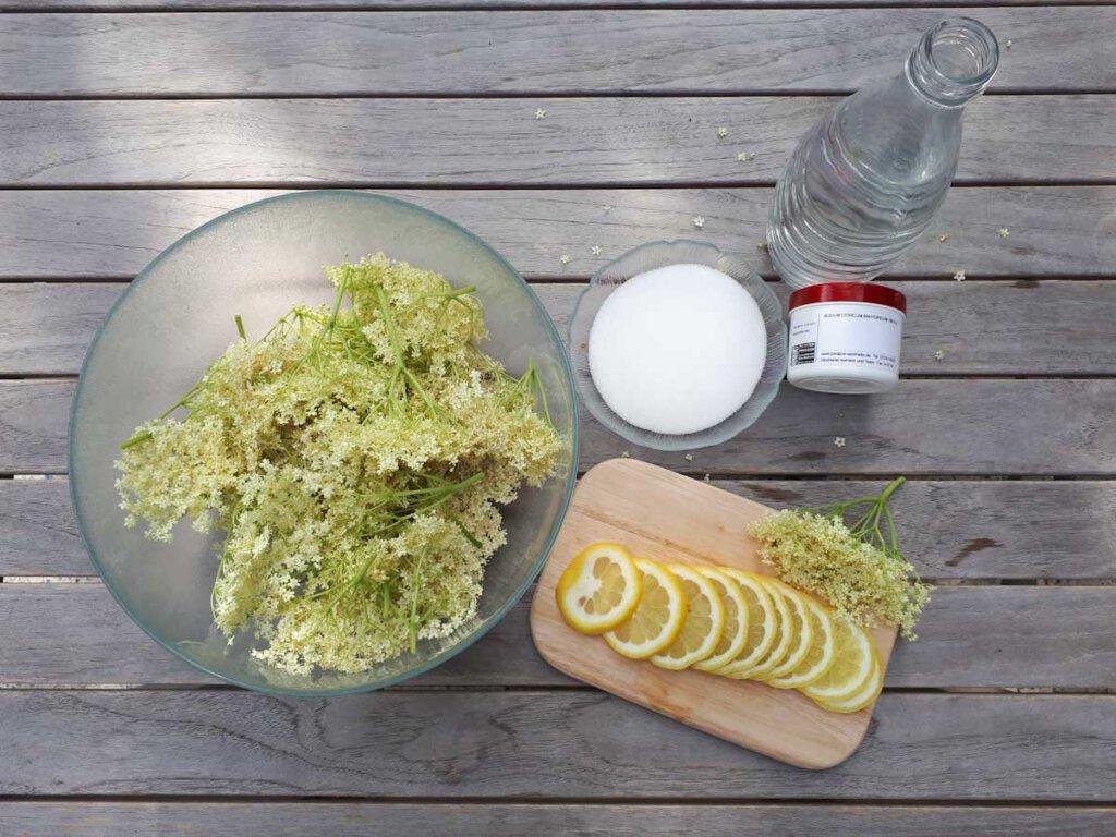Unsere Zutaten für das Holunderblütensirup Rezept