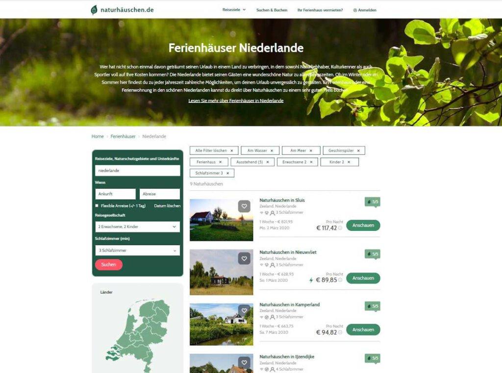 Ferienhaus-Suche in den Niederlanden auf Naturhäuschen.de