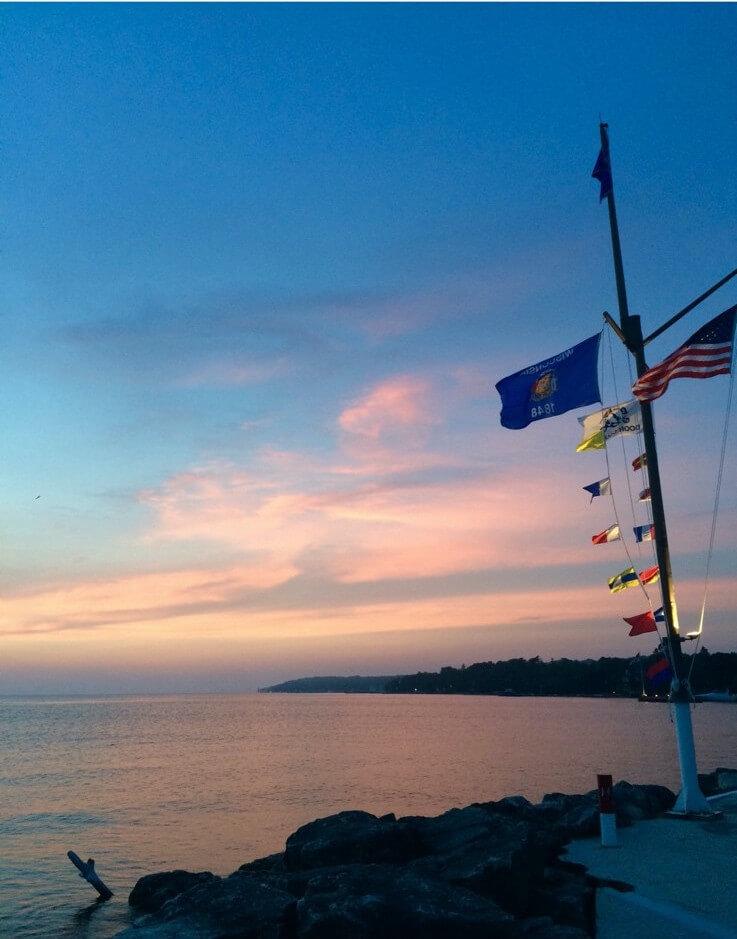 Sonnenuntergang über dem Michigansee