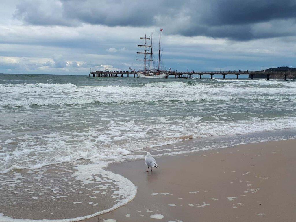 Stürmischer Tag an der Seebrücke Binz auf Rügen