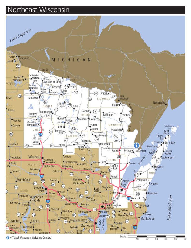 Übersichtskarte von www.travelwisconsin.com