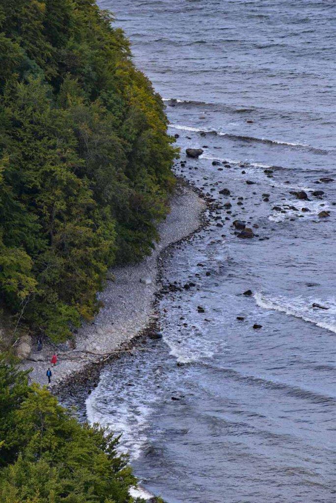 Blick auf die winzigen Strandspaziergänger unterhalb der Steilküste Rügens