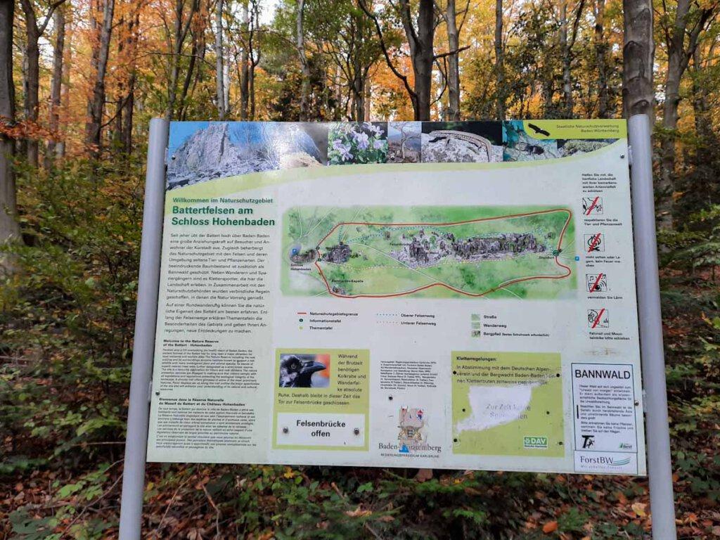 Nordschwarzwald Wandertour im Naturschutzgebiet Battertfelsen am Schloss Hohenbaden