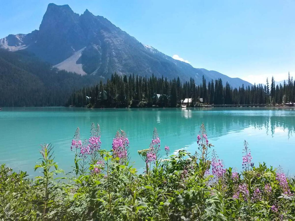 Der türkisblaue Emerald Lake mit Lodge im Yoho Nationalpark in Westkanada