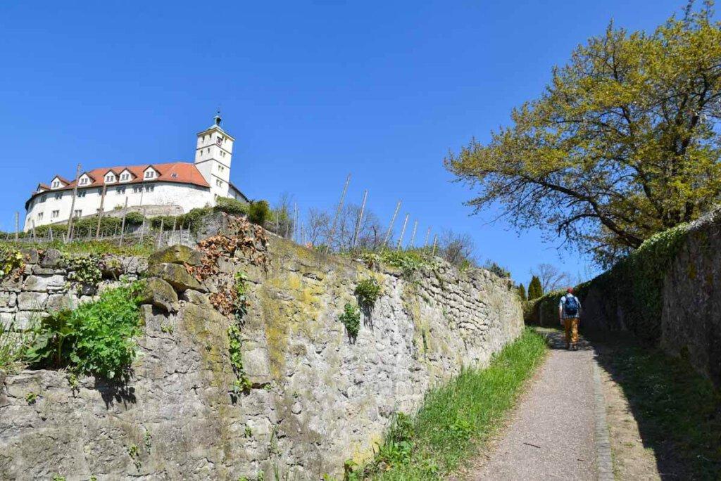Aufstieg zum Schloss Kaltenstein hoch über Vaihingen