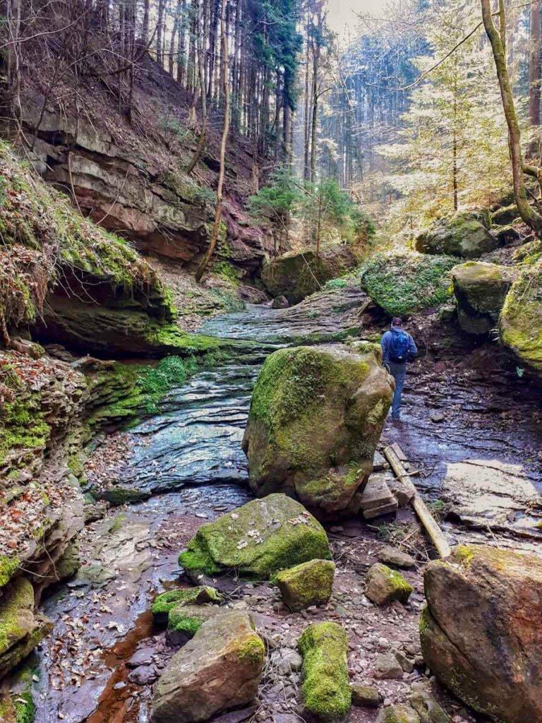Nordschwarzwald Wandern durch die wilde Wolfsschlucht bei Calw